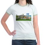 Old Quebec Pano with one Flag Jr. Ringer T-Shirt