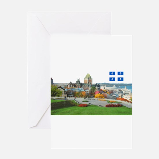 Old Quebec Pano with one Flag Greeting Card