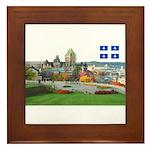 Old Quebec Pano with one Flag Framed Tile