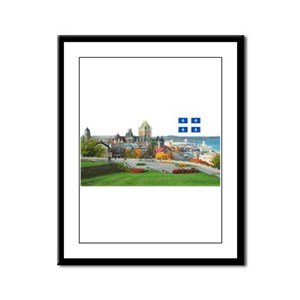 Old Quebec Pano with one Flag Framed Panel Print
