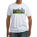 Old Quebec Pano with one Flag Fitted T-Shirt
