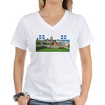 Old Quebec Pano with two Flag Women's V-Neck T-Shi