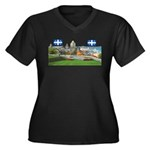 Old Quebec Pano with two Flag Women's Plus Size V-