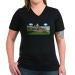 Old Quebec Pano with two Flag Women's V-Neck Dark
