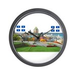 Old Quebec Pano with two Flag Wall Clock