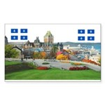 Old Quebec Pano with two Flag Sticker (Rectangular