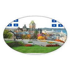 Old Quebec Pano with two Flag Oval Sticker