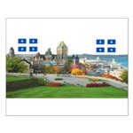 Old Quebec Pano with two Flag Small Poster