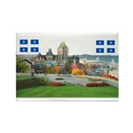 Old Quebec Pano with two Flag Rectangle Magnet