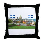 Old Quebec Pano with two Flag Throw Pillow