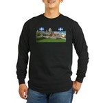 Old Quebec Pano with two Flag Long Sleeve Dark T-S