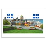 Old Quebec Pano with two Flag Large Poster