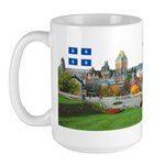Old Quebec Pano with two Flag Large Mug