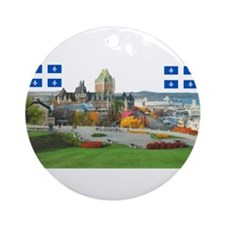 Old Quebec Pano with two Flag Ornament (Round)