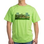 Old Quebec Pano with two Flag Green T-Shirt