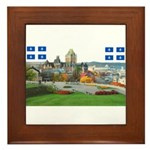 Old Quebec Pano with two Flag Framed Tile