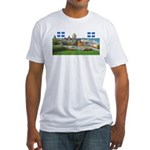 Old Quebec Pano with two Flag Fitted T-Shirt