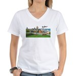 Old Quebec Pano with Signatur Women's V-Neck T-Shi
