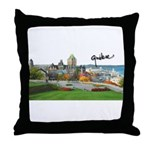 Old Quebec Pano with Signatur Throw Pillow