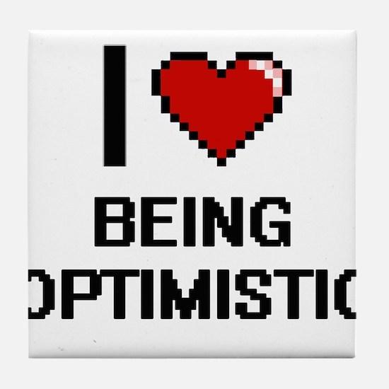 I Love Being Optimistic Digitial Desi Tile Coaster