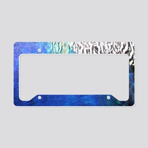 Sea Blue Peacock Feathers License Plate Holder