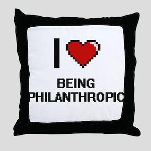 I Love Being Philanthropic Digitial D Throw Pillow