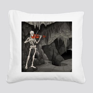 skeleton violin Square Canvas Pillow