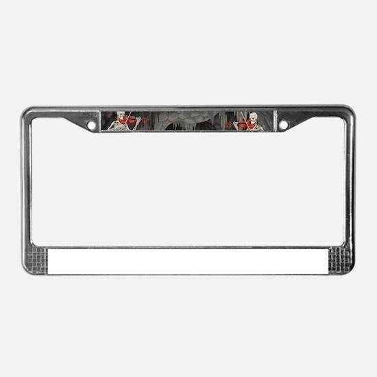 skeleton violin License Plate Frame