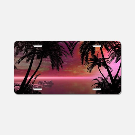 Awesome tropical sunset Aluminum License Plate