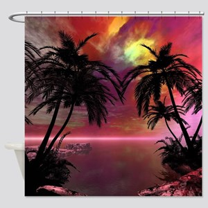 Awesome Tropical Sunset Shower Curtain