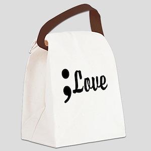 Love Semicolon Canvas Lunch Bag