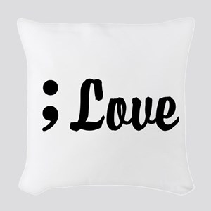 Love Semicolon Woven Throw Pillow