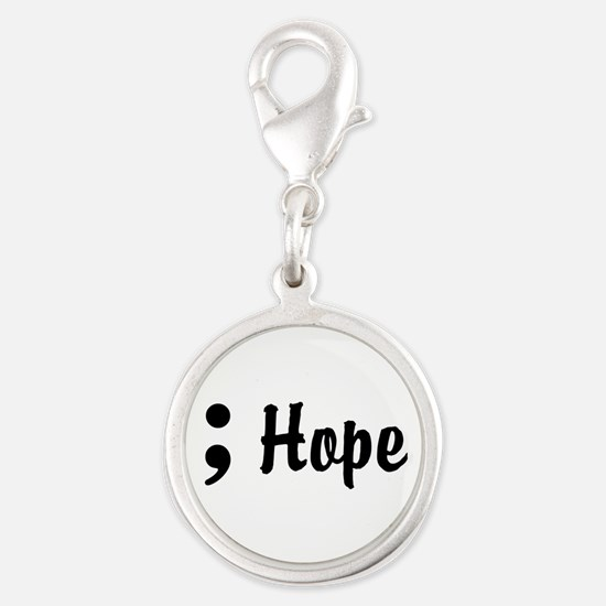 Hope Semicolon Silver Round Charm