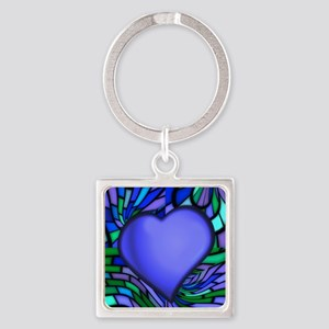 Blue Stained Glass Heart Square Keychain