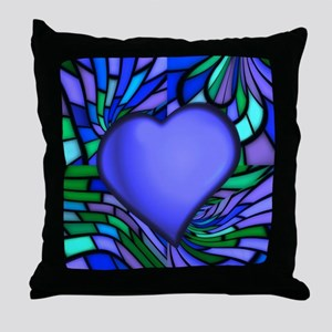 Blue Stained Glass Heart Throw Pillow