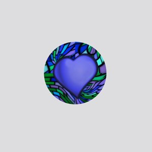 Blue Stained Glass Heart Mini Button