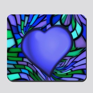 Blue Stained Glass Heart Mousepad
