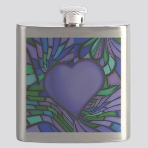 Blue Stained Glass Heart Flask