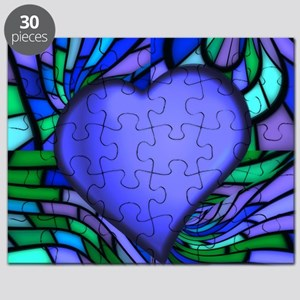 Blue Stained Glass Heart Puzzle