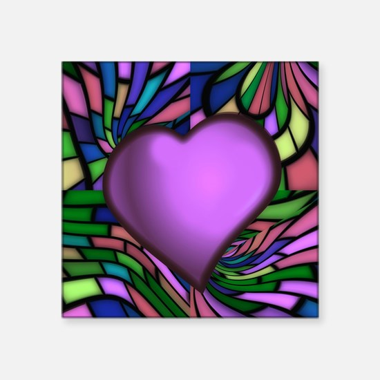 """Purple Stained Glass Heart Square Sticker 3"""" x 3"""""""