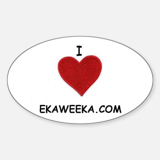 I LOVE EKAWEEKA.COM Oval Decal