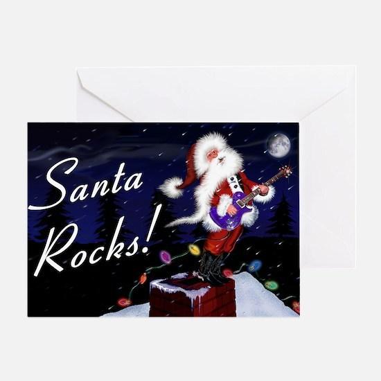 Santa Plays Guitar Greeting Card