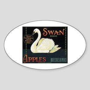 Swan Fruit Crate Label Oval Sticker