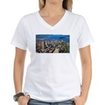 Greater Quebec Area with Sign Women's V-Neck T-Shi