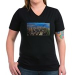 Greater Quebec Area with Sign Women's V-Neck Dark