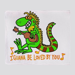 I want to be loved by you Iguana Throw Blanket