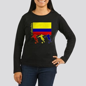 Colombia Soccer Women's Long Sleeve Dark T-Shirt
