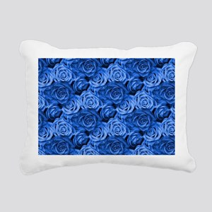 Blue Roses Rectangular Canvas Pillow