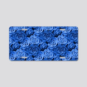 Blue Roses Aluminum License Plate