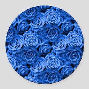 Blue Roses Round Car Magnet